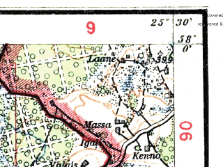 Reduced fragment of topographic map lv--las--075k--053--(1928)--N058-00_E025-00--N057-45_E025-30; towns and cities Mazsalatsa, Ruiyena