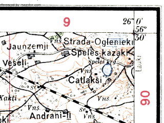 Reduced fragment of topographic map lv--las--075k--068--(1927)--N056-30_E025-30--N056-15_E026-00; towns and cities Jekabpils, Viyesite