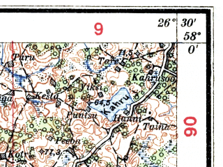 Reduced fragment of topographic map lv--las--075k--071--(1927)--N058-00_E026-00--N057-45_E026-30; towns and cities Valga, Valka, Sangaste