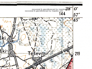 Reduced fragment of topographic map lv--las--075k--099--(1927)--N057-45_E027-30--N057-30_E028-00; towns and cities Irboska