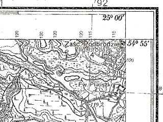 Reduced fragment of topographic map pl--wig--025k--P29S40-D--(1935)--N054-55_E024-50--N054-50_E025-00