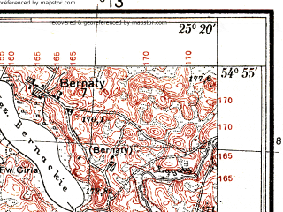 Reduced fragment of topographic map pl--wig--025k--P29S40-F--(1937)--N054-55_E025-10--N054-50_E025-20