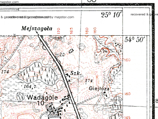 Reduced fragment of topographic map pl--wig--025k--P29S40-H--(1935)--N054-50_E025-00--N054-45_E025-10