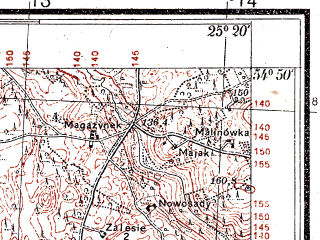 Reduced fragment of topographic map pl--wig--025k--P29S40-I--(1933)--N054-50_E025-10--N054-45_E025-20
