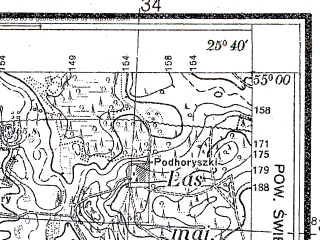 Reduced fragment of topographic map pl--wig--025k--P29S41-B--(1932)--N055-00_E025-30--N054-55_E025-40
