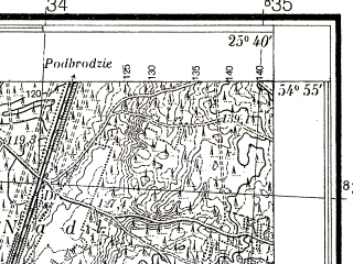 Reduced fragment of topographic map pl--wig--025k--P29S41-E--(1937)--N054-55_E025-30--N054-50_E025-40