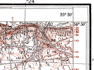 Reduced fragment of topographic map pl--wig--025k--P29S41-G--(1933)--N054-50_E025-20--N054-45_E025-30