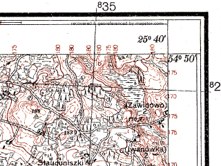 Reduced fragment of topographic map pl--wig--025k--P29S41-H--(1932)--N054-50_E025-30--N054-45_E025-40