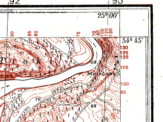 Reduced fragment of topographic map pl--wig--025k--P30S40-A--(1936)--N054-45_E024-50--N054-40_E025-00