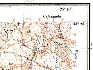 Reduced fragment of topographic map pl--wig--025k--P30S40-B--(1937)--N054-45_E025-00--N054-40_E025-10; towns and cities Grigishkes