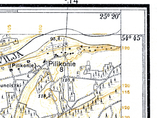 Reduced fragment of topographic map pl--wig--025k--P30S40-C--(1933)--N054-45_E025-10--N054-40_E025-20; towns and cities Vilnius