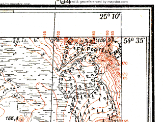 Reduced fragment of topographic map pl--wig--025k--P30S40-H--(1935)--N054-35_E025-00--N054-30_E025-10