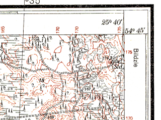 Reduced fragment of topographic map pl--wig--025k--P30S41-B--(1932)--N054-45_E025-30--N054-40_E025-40