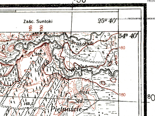 Reduced fragment of topographic map pl--wig--025k--P30S41-E--(1932)--N054-40_E025-30--N054-35_E025-40