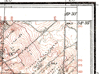 Reduced fragment of topographic map pl--wig--025k--P30S41-G--(1932)--N054-35_E025-20--N054-30_E025-30