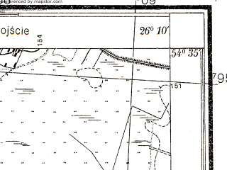 Reduced fragment of topographic map pl--wig--025k--P30S42-H--(1932)--N054-35_E026-00--N054-30_E026-10