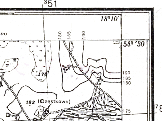 Reduced fragment of topographic map pl--wig--025k--P31S26-B--(1937)--N054-30_E018-00--N054-25_E018-10; towns and cities Lebno