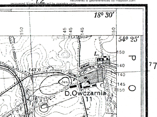 Reduced fragment of topographic map pl--wig--025k--P31S27-D--(1938)--N054-25_E018-20--N054-20_E018-30