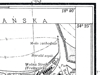 Reduced fragment of topographic map pl--wig--025k--P31S27-E--(1938)--N054-25_E018-30--N054-20_E018-40; towns and cities Gdansk