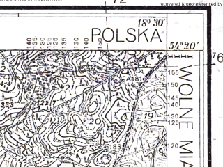 Reduced fragment of topographic map pl--wig--025k--P31S27-G--(1936)--N054-20_E018-20--N054-15_E018-30