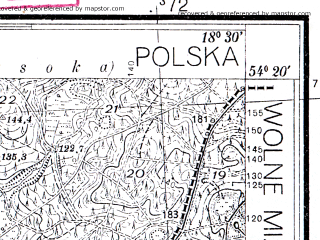 Reduced fragment of topographic map pl--wig--025k--P31S27-G--(1938)--N054-20_E018-20--N054-15_E018-30