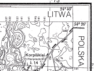 Reduced fragment of topographic map pl--wig--025k--P31S39-H--(1934)--N054-20_E024-30--N054-15_E024-40
