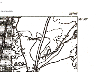 Reduced fragment of topographic map pl--wig--025k--P31S40-B--(1931)--N054-30_E025-00--N054-25_E025-10