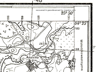 Reduced fragment of topographic map pl--wig--025k--P31S41-F--(1932)--N054-25_E025-40--N054-20_E025-50