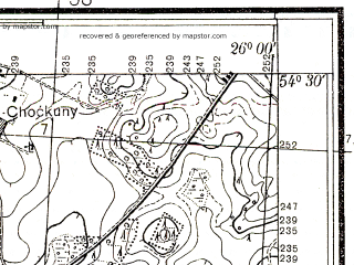 Reduced fragment of topographic map pl--wig--025k--P31S42-A--(1938)--N054-30_E025-50--N054-25_E026-00; towns and cities Oshmyany