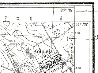Reduced fragment of topographic map pl--wig--025k--P31S43-A--(1934)--N054-30_E026-20--N054-25_E026-30; towns and cities Smorgon'