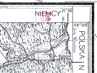 Reduced fragment of topographic map pl--wig--025k--P32S25-H--(1935)--N054-05_E017-30--N054-00_E017-40