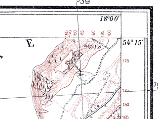 Reduced fragment of topographic map pl--wig--025k--P32S26-A--(1937)--N054-15_E017-50--N054-10_E018-00