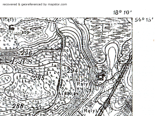 Reduced fragment of topographic map pl--wig--025k--P32S26-B--(1932)--N054-15_E018-00--N054-10_E018-10