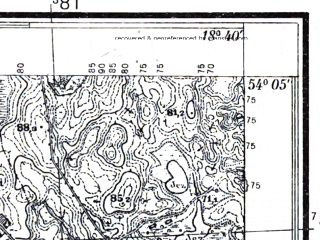 Reduced fragment of topographic map pl--wig--025k--P32S27-H--(1934)--N054-05_E018-30--N054-00_E018-40