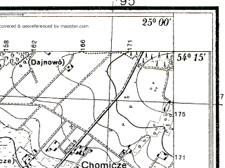 Reduced fragment of topographic map pl--wig--025k--P32S40-A--(1938)--N054-15_E024-50--N054-10_E025-00