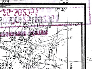 Reduced fragment of topographic map pl--wig--025k--P32S43-H--(1938)--N054-05_E026-30--N054-00_E026-40; towns and cities Volozhin
