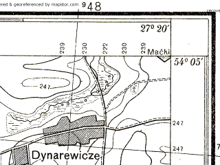 Reduced fragment of topographic map pl--wig--025k--P32S44-I--(1938)--N054-05_E027-10--N054-00_E027-20; towns and cities Zaslavl'
