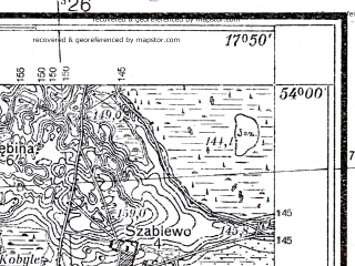 Reduced fragment of topographic map pl--wig--025k--P33S25-C--(1937)--N054-00_E017-40--N053-55_E017-50