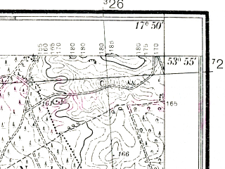 Reduced fragment of topographic map pl--wig--025k--P33S25-F--(1937)--N053-55_E017-40--N053-50_E017-50; towns and cities Brusy