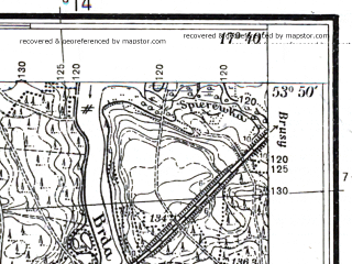Reduced fragment of topographic map pl--wig--025k--P33S25-H--(1937)--N053-50_E017-30--N053-45_E017-40