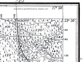 Reduced fragment of topographic map pl--wig--025k--P33S25-I--(1937)--N053-50_E017-40--N053-45_E017-50