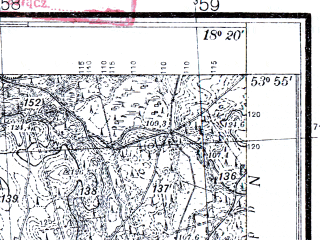 Reduced fragment of topographic map pl--wig--025k--P33S26-F--(1933)--N053-55_E018-10--N053-50_E018-20