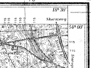 Reduced fragment of topographic map pl--wig--025k--P33S27-A--(1935)--N054-00_E018-20--N053-55_E018-30; towns and cities Zblewo