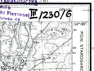 Reduced fragment of topographic map pl--wig--025k--P33S27-B--(1935)--N054-00_E018-30--N053-55_E018-40; towns and cities Starogard Gdanski