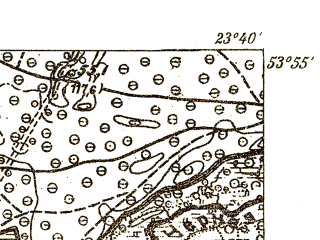 Reduced fragment of topographic map pl--wig--025k--P33S37-E--(1931)--N053-55_E023-30--N053-50_E023-40