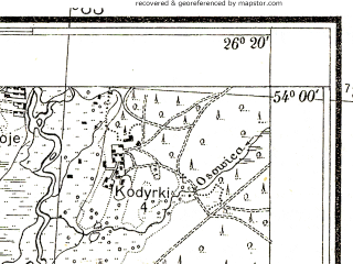 Reduced fragment of topographic map pl--wig--025k--P33S42-C--(1938)--N054-00_E026-10--N053-55_E026-20; towns and cities Bakshty