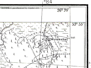Reduced fragment of topographic map pl--wig--025k--P33S42-F--(1938)--N053-55_E026-10--N053-50_E026-20