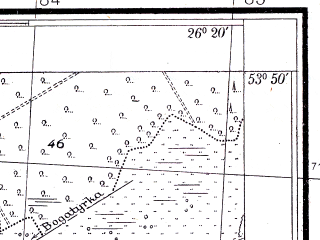 Reduced fragment of topographic map pl--wig--025k--P33S42-I--(1938)--N053-50_E026-10--N053-45_E026-20