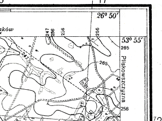 Reduced fragment of topographic map pl--wig--025k--P33S43-F--(1938)--N053-55_E026-40--N053-50_E026-50