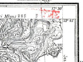 Reduced fragment of topographic map pl--wig--025k--P34S25-A--(1937)--N053-45_E017-20--N053-40_E017-30; towns and cities Czluchow